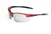 Shiny Red Half Frame Sunglasses With Smoke/Silver Mirror Lens