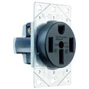 Black 50 Amp 125/250 Volt Flush Mount 4 Wire Range Outlet