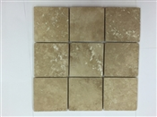4 x 4 Square Patterned Travertine Tile, Tumbled Cream