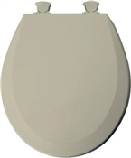 Molded Wood Round Toilet Seat with Easy Clean Hinge - Bone