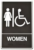 HY-KO DB-2 Graphic Sign, Rectangular, WOMEN, White Legend, Black Background