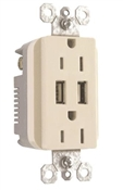 USB Charger, 2-Outlet, 15-Amp, Light Almond