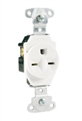 15A Heavy-Duty Single Outlet, White
