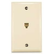 Flush Mount Phone Wall Plate Almond