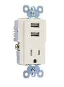 USB Charger Combo With Tamper-Resistant Receptacle, Light Almond, 15-Amp