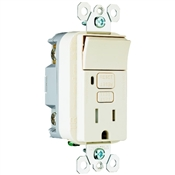 Almond 15 Amp 125 Volt GFCI Decorator Receptacle with Single Pole Switch