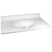 "49"" x 22"" Cultured Marble 1 Bowl Vanity Top - White On White"