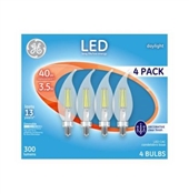 Decorative LED Light Bulbs, Candelabra Base, Daylight, Clear, 300 Lumens, 3.5-Watts, 4-Pk.