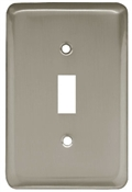 Toggle Wall Plate, 1-Gang, Stamped, Round, Satin Nickel Steel