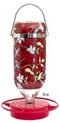 American Made Hummingbird Glass Feeder 32oz  Vine Design