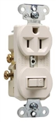 Combination Switch & Duplex Outlet, 15 amp, 125 volt, Single Pole, Almond