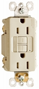 15A, Ivory, 2 pole, 3 wire, grounding, , self testing GFCI outlet, tamper resistant, with LED night light, UL listed