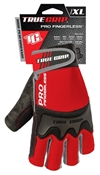 True Grip, Pro Fingerless Gloves, Knuckle Protection, Extra Large