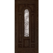 3068 Inswing Prefinished Fiberglass Center Arch Lone Star Door, Walnut Oak, Left Hand