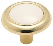 Amerock 244WPB Cabinet Knob, 15/16 in Projection, Plastic/Zinc, Polished Brass