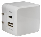 RCA, White, 3.4A, Type-C Dual Port Square Wall Charger