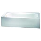 """Aztec 60"""" Porcelain Enameled Steel Left Hand Tub - White"""
