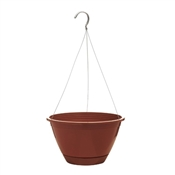 """10"""" Light Terra Cotta Plastic Hanging Basket with attached saucer"""