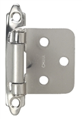 "3/8"" Self-Closing Flush/Overlay Cabinet Hinge - Satin Nickel"