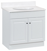 "Richmond 30"" Raised Panel Combo Vanity With Cultured Marble Top, White"