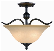 2 Light Oil Rubbed Bronze Dover Semi Flush Indoor Ceiling Fixture