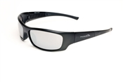 Satin Black Full Frame Sunglasses With Smoke/Silver Mirror Lens