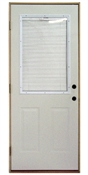 2868 Half View Steel with Mini Blinds IS Prehung Double Bored Door Right Hand