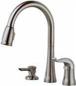 Hi-Rise Kitchen Faucet With Pull Down Sprayer, Stainless Steel