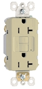 20 Amp Ivory, 2 pole, 3 wire ,grounding,  self testing GFCI outlet with matching wall plate, UL listed