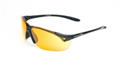 Satin Black Half Frame Sunglasses With Orange Lens