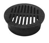 Round Drop-In Drain Grate, Black, PVC