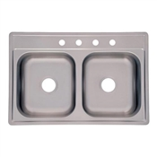 "6"" Stainless Steel Double Bowl Kitchen Sink"