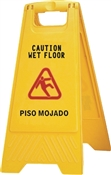 Chickasaw & Little Rock 628 2-Sided Wet Floor Sign, Caution Wet Floor And Piso Mojado