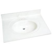 "Foremost 31"" x 22"" Cultured Marble 1 Bowl Vanity Top - White"