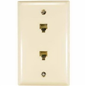 Flush Mount Duplex Phone Wall Jack Almond