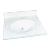 "25"" x 22"" Cultured Marble 1 Bowl Vanity Top - White"