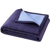 Prosource MT10101 Movers Blanket, 80 in L, 72 in W, Cotton/Polyester, Dark Blue/Light Blue