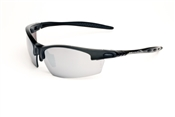 Satin Black Half Frame Sunglasses With Smoke/Silver Mirror lens