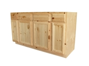 "60"" Unfinished Pine Sink Base Cabinet"