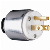 White 15 Amp 125 Volt 3 Wire Armoured Plug