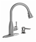 Pull Down Kitchen Faucet With Soap Dispenser, Stainless
