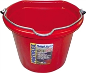 8 Qt Plastic Flatback Bucket, Red