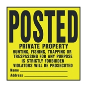 "POSTED PRIVATE PROPERTY SIGN 11""X11"""