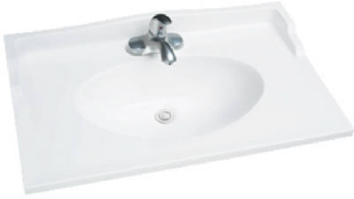 "Foremost 31"" x 19"" Cultured Marble 1 Bowl Vanity Top - White"