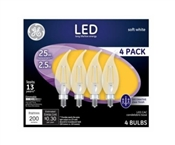 Decorative LED Light Bulbs, Candelabra Base, Soft White, Clear, 200 Lumens, 2.5-Watts, 4-Pk.