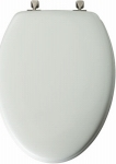 Molded Wood Elongated Toilet Seat with Brushed Nickel Hinges - White