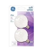 Globe Light Bulbs, White, 2-Pk., 25-Watts