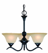 3 Light Dover Chandelier Indoor Ceiling Fixture - Oil Rubbed Bronze with Amber Glass