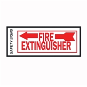 """FIRE EXTINGUISHER""  LEFT ARROW RED/WHITE VINYL SIGN 4""X10"""