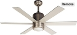"Horizon 48"""" Ceiling Fan, Tri Mount, W/ Light Kit And Remote Control, Satin Nickel"